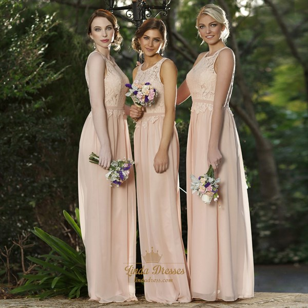 Peach Chiffon Sleeveless Long Bridesmaid Dress With Lace Bodice