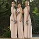 Peach Chiffon Sleeveless Long Bridesmaid Dress With Lace Bodice
