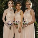 Show details for Peach Chiffon Sleeveless Long Bridesmaid Dress With Lace Bodice