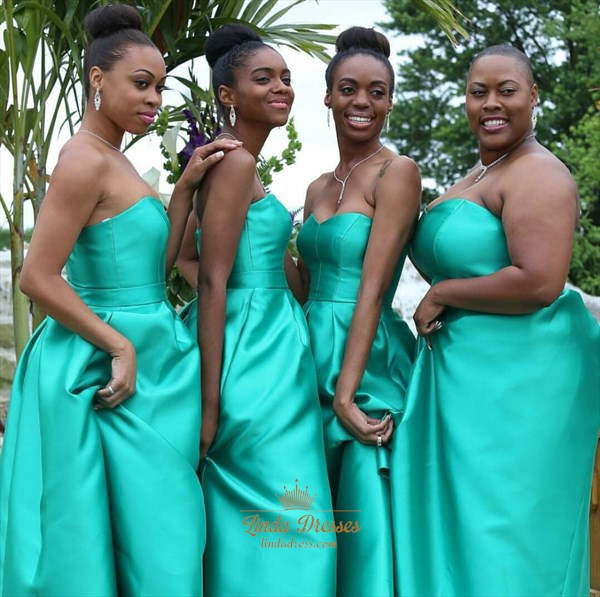 Teal Blue Strapless Sweetheart Floor Length Bridesmaid Dresses