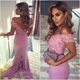 Lilac Pink V-Neck Cap Sleeve Sheath Bridesmaid Dress With Lace Bodice