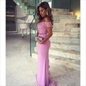 Show details for Lilac Pink V-Neck Cap Sleeve Sheath Bridesmaid Dress With Lace Bodice