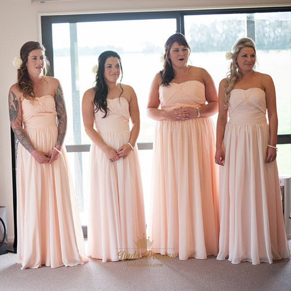 Peach Chiffon Strapless Sweetheart Bridesmaid Dress With Ruched Bodice