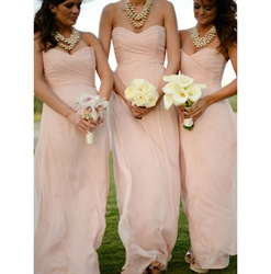Blush Pink Strapless Chiffon Bridesmaid Dress Long With Ruched Bodice