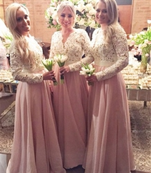 Lace Top Chiffon Bottom Floor Length Long Sleeves Bridesmaid Dress