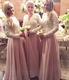 Lace Top Chiffon Bottom Floor Length Long Sleeves Bridesmaid Dress