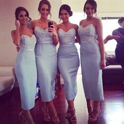 Light Blue Spaghetti Straps Sheath Dress Tea Length With Beaded Top