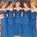 Show details for Steel Blue Off The Shoulder Trumpet Mermaid Dress With Tulle Bottom