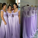 Lavender Lace Bodice Chiffon Skirt Bridesmaid Dress With Cap Sleeves