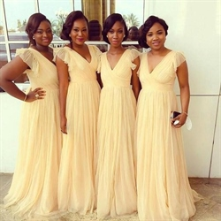 Light Yellow V-Neck Ruffle A Line Bridesmaid Dress With Cap Sleeves