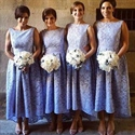 Lavender Lace Bateau Neckline Long A Line Bridesmaid Dress High Low