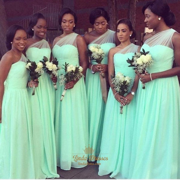 Mint Green One Shoulder Ruched A Line Chiffon Bridesmaid Dress Long