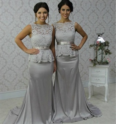 Silver Sheer Lace Top Mermaid Long Bridesmaid Dress With Sash