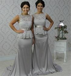 Silver Sheer Lace Top Mermaid Long Bridesmaid Dress With Sash