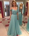 Light Blue Off The Shoulder Sweetheart Twist Dress With Beaded Detail