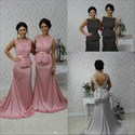 Show details for Silver Sheer Lace Top Mermaid Long Bridesmaid Dress With Sash