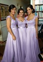 Show details for Lavender Lace Bodice Chiffon Skirt Bridesmaid Dress With Cap Sleeves