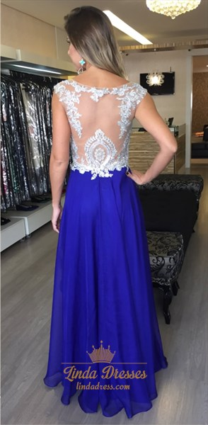 Royal Blue Illusion Lace Top Chiffon A-Line Floor Length Prom Dress