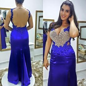 Royal Blue Sleeveless Beaded Bodice Mermaid Evening Dress With Split