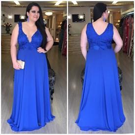 Sleeveless Royal Blue V-Neck Lace Embellished Chiffon Evening Dress