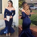 Simple Navy Blue Off Shoulder Long Sleeve Mermaid High Low Formal Gown