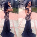 Navy Blue Cap Sleeve Lace Bodice Drop Waist Chiffon Mermaid Prom Dress