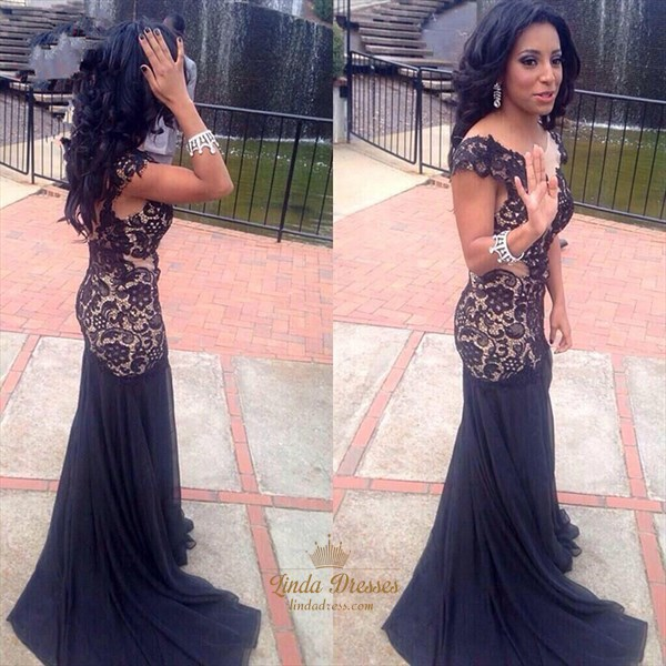 Show details for Navy Blue Cap Sleeve Lace Bodice Drop Waist Chiffon Mermaid Prom Dress