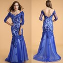 Royal Blue Lace Applique Backless Prom Dress With Sheer 3/4 Sleeves