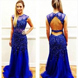 Royal Blue Sheer Cap Sleeve Beaded Embellished Open Back Prom Dress