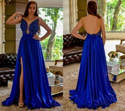 Royal Blue Sheer Neckline Backless Embellished Bodice A-Line Prom Gown