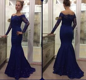 Royal Blue Off The Shoulder Long Sleeve Floor Length Mermaid Prom Gown