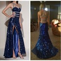 Show details for Royal Blue One Shoulder Backless Beaded Embellished Dress With Slit