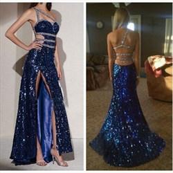 Royal Blue One Shoulder Backless Beaded Embellished Dress With Slit