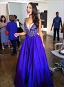 Royal Blue V-Neck Sleeveless Lace Bodice A-Line Floor Length Prom Gown