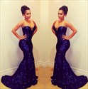 Floor Length Navy Blue Strapless Sweetheart Sequin Mermaid Prom Gown