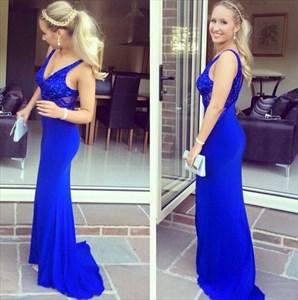 Elegant Royal Blue V-Neck Floor Length Lace Chiffon Mermaid Prom Dress