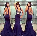 Navy Blue Keyhole Back Mermaid Long Evening Gown With Lace Embellished