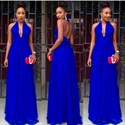 Show details for Royal Blue Halter V-Neck A-Line Chiffon Long Prom Dress With Open Back