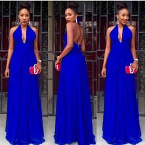 Royal Blue Halter V-Neck A-Line Chiffon Long Prom Dress With Open Back
