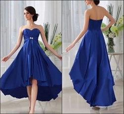Ankle Length Royal Blue Strapless Empire Waist A-Line High Low Dress