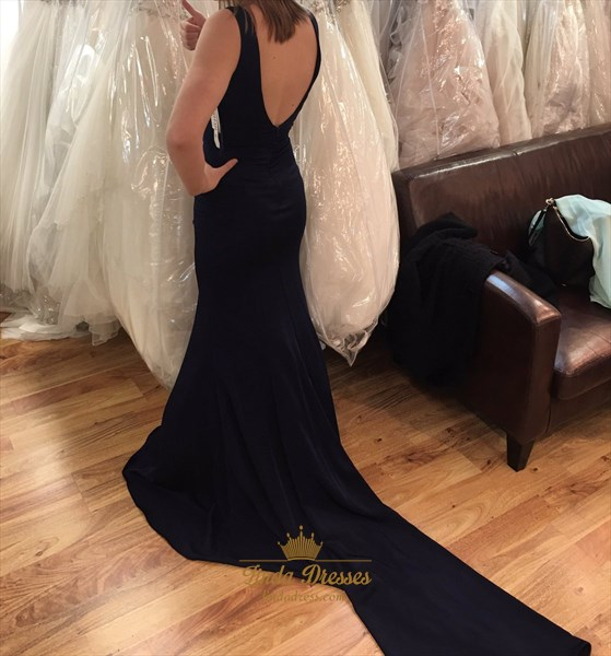 Simple Sleeveless Black Deep V-Neck Satin Prom Dress With Open Back