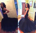 Show details for Black Sleeveless Drop Waist Tulle Mermaid Prom Gown With Beaded Bodice