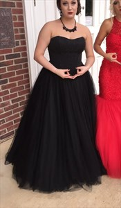Floor Length Black Strapless Tulle Ball Gown With Beaded Embellished