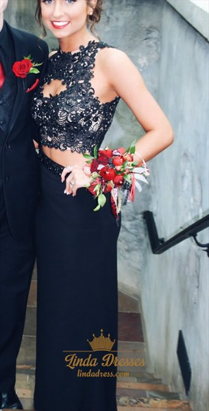 Black Sleeveless Lace Top Front Keyhole Mermaid Two Piece Prom Dress