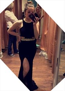Black Sleeveless Beaded Waist Floor Length Chiffon Prom Gown With Slit