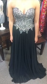 Black Strapless Floor Length Beaded Embellished Bodice Chiffon Dress