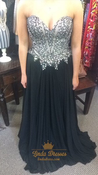 Show details for Black Strapless Floor Length Beaded Embellished Bodice Chiffon Dress