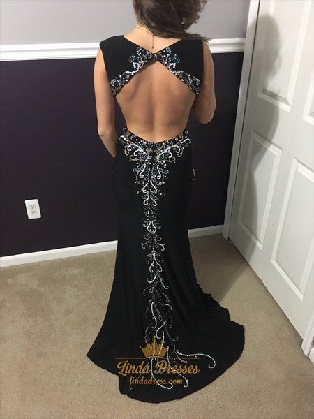 Black Sleeveless V-Neck Embellished Open Back Evening Dress With Slit