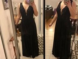 Black V-Neck A-Line Sleeveless Lace Bodice Chiffon Skirt Evening Dress