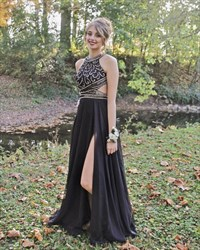 Elegant Black Floor Length Slit Chiffon Prom Dress With Beaded Bodice